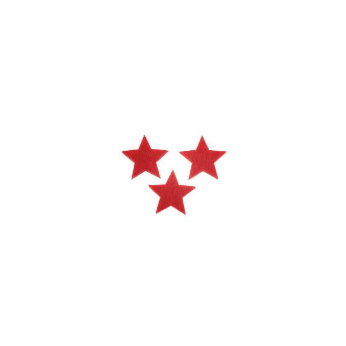 Etoiles en feutre rouge 2.5cm, 15 pcs