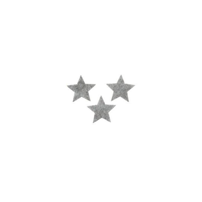 Felt stars grey 2.5cm, 15 pcs