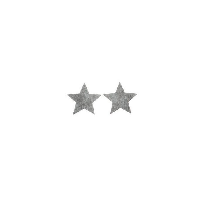 Etoiles en feutre gris 3.5cm, 10 pcs