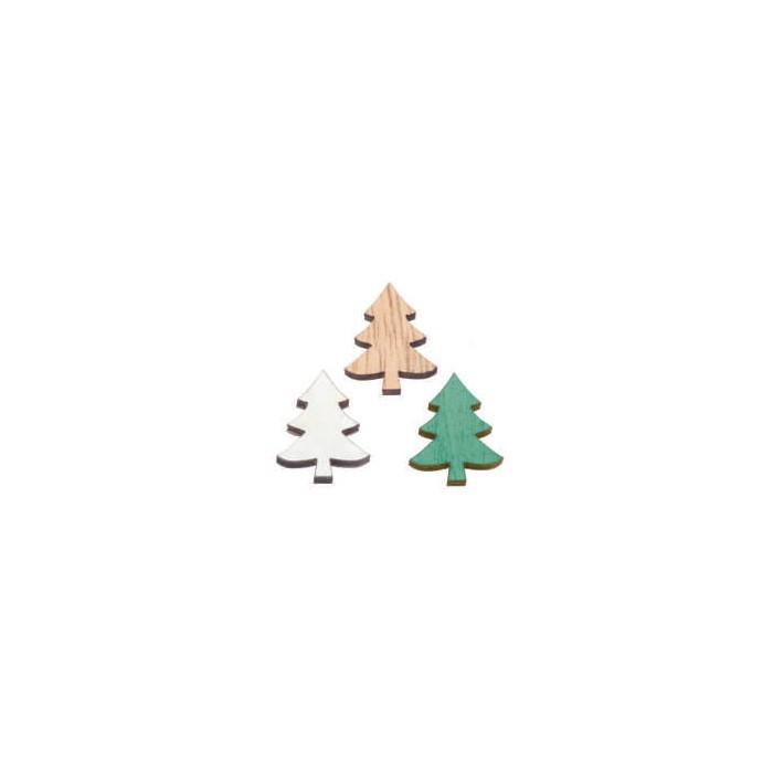 Sapins en bois 3D, 2x1.5x0.7cm, 12 pcs