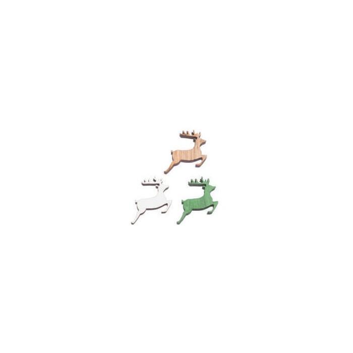 Wood Reindeer Deco 3D, 2.5x2x0.7cm, 12 pcs