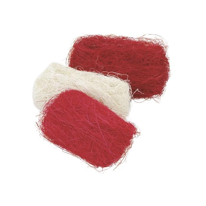 Abaca fibres, 3x10g, red