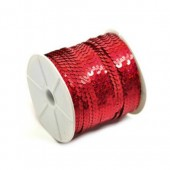 Ribbon with sequins, red,  5m/0.6mm