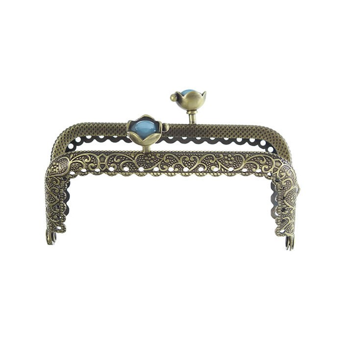 Purse Bag Handle 8.9x5.5cm, flower blue