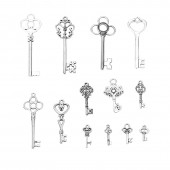 Key silver, 16 - 62mm, 13 pcs