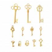 Schlüssel, gold, 16 à 63 mm, 12 Stk