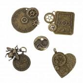 Pendentifs steampunk bronze, 23-50mm, 5 pcs