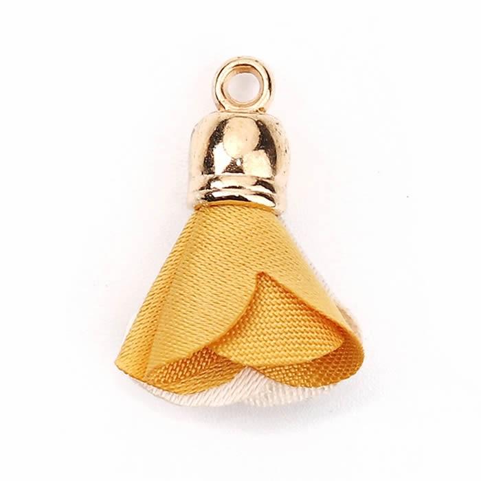 Fabric flower pendant with end cap, 4 pcs, beige/gold