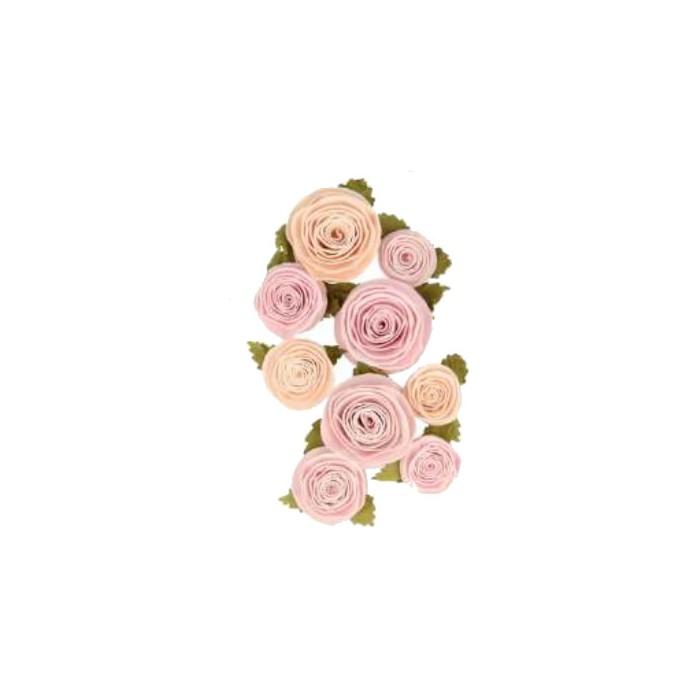 Paper flowers Secret Garden , 20-40mm, 9 pcs