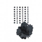 Adhesive half pearls and paper flowers, black