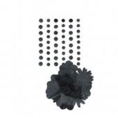 Plastik-Halbperlen unde Papierblumen, schwarz