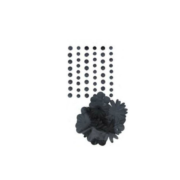 Demi-perles nacrées et fleurs en papier noir