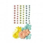 Demi-perles nacrées et fleurs en papier Scandisweet