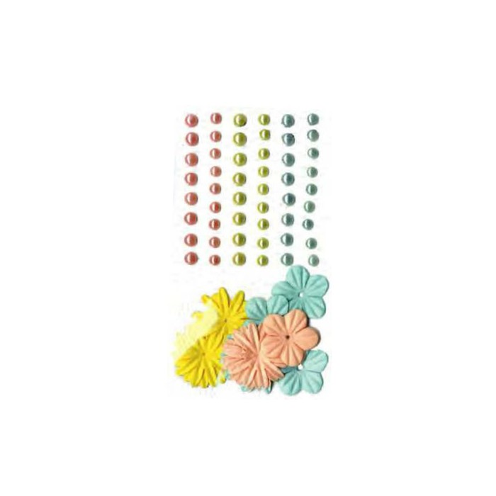 Adhesive half pearls and paper flowers, Scandisweet