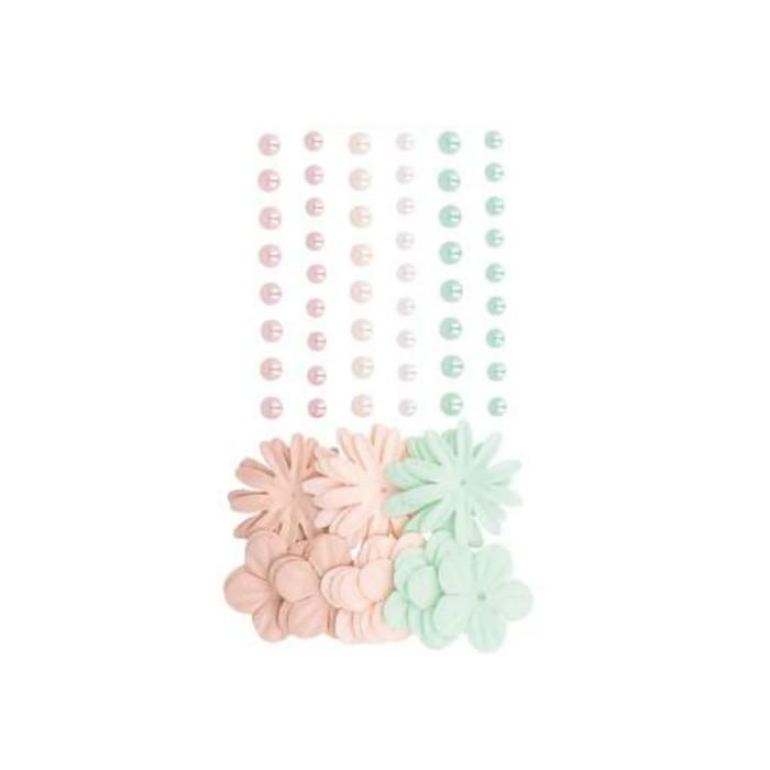 Demi-perles nacrées et fleurs en papier Secret Garden