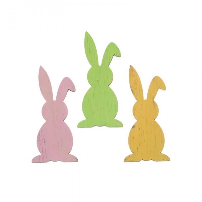 Lapins en bois vert/rose/jaune, 5.5cm, 6 pces