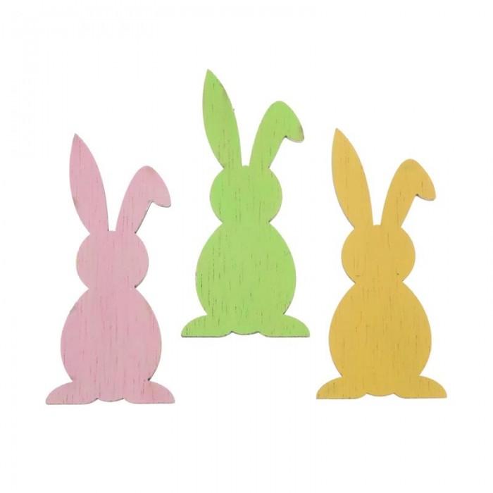 Lapins en bois vert/rose/jaune, 7cm, 6 pces