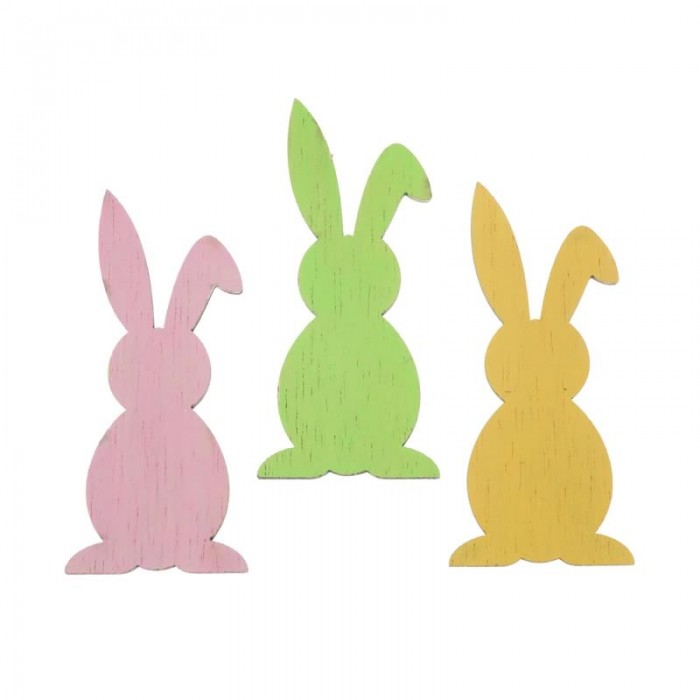 Wooden rabbits, pink/yellow/green, 7cm, 6 pcs