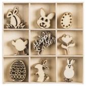 Wood ornament box Easter, 45 pcs