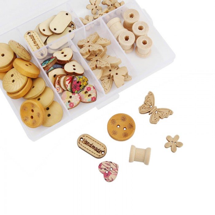 Wooden buttons, 62 pcs assorted
