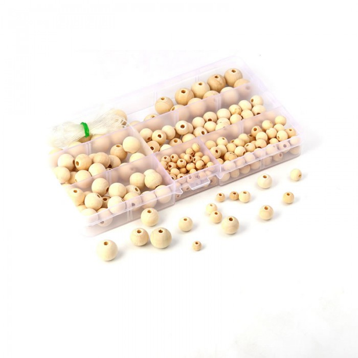 Wooden beads, mix, +/-220 pcs