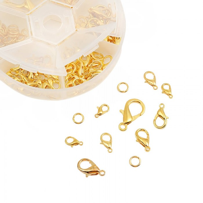 Clasps and rings, gold, 110 pcs