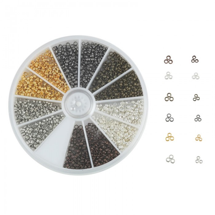 Big assortment mixed Crimp beads  +/- 2160 pcs
