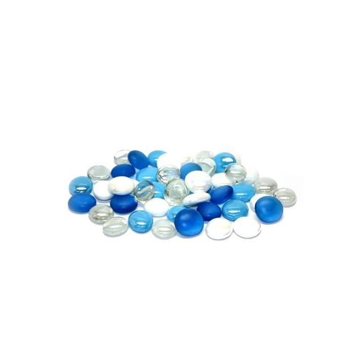 Glass nuggets, Ø2cm blue mix, 200g