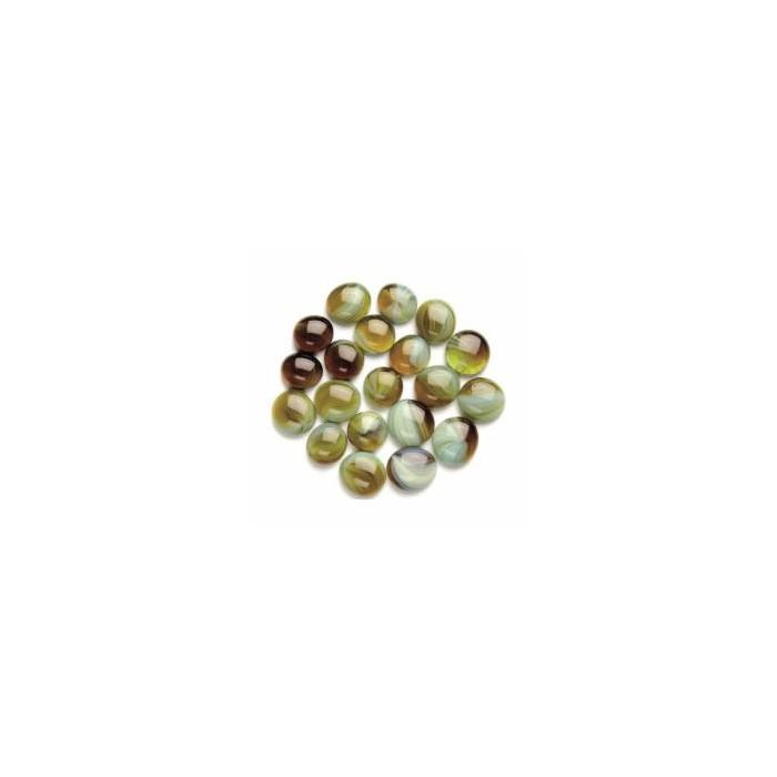 Glass nuggets, Ø2cm green mix, 200g