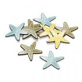 Wooden Sea stars, 4cm, 12 pcs