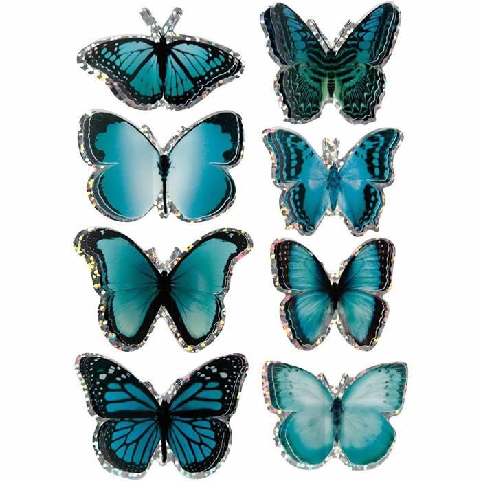 3D stickers butterflies, 20-35mm, blue