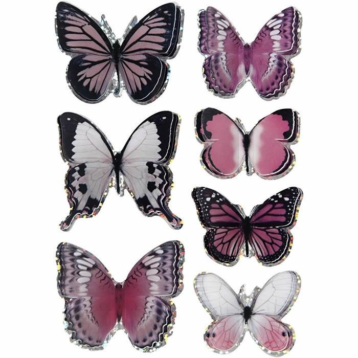3D stickers butterflies, 20-35mm, lilac