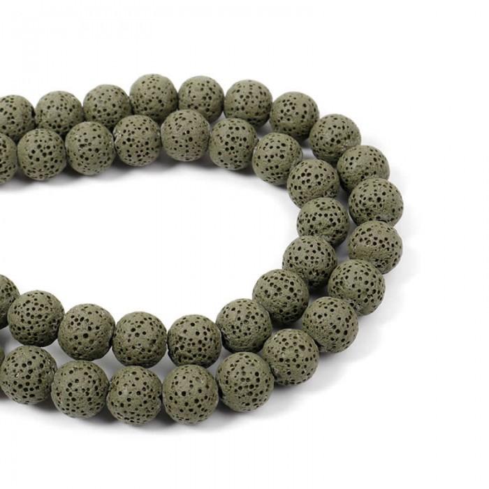 Lava beads army green 10mm, -/+ 40 pcs