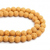 Lava beads yellow 10mm, -/+ 40 pcs