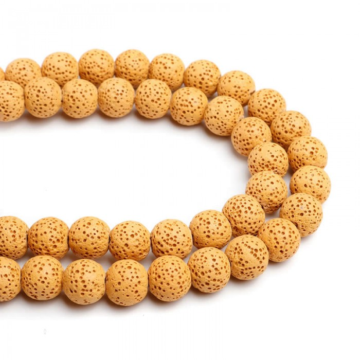 Lava beads yellow 10mm, -/+ 40 pcs