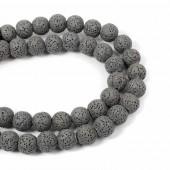Lava beads grey 10mm, -/+ 40 pcs