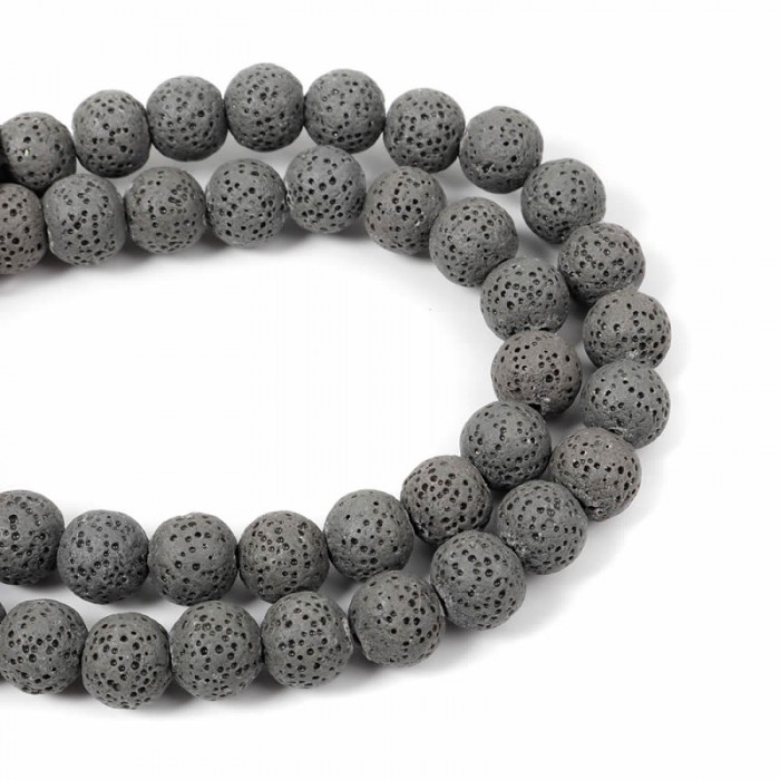 Lava beads grey 10mm, -/+ 40 pcs
