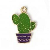 Enamel hanging cactus 28mm x 18mm, 5 pcs