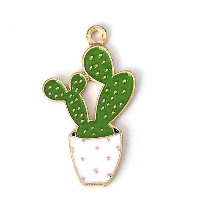 Enamel hanging cactus 35mm x 20mm, 5 Pcs