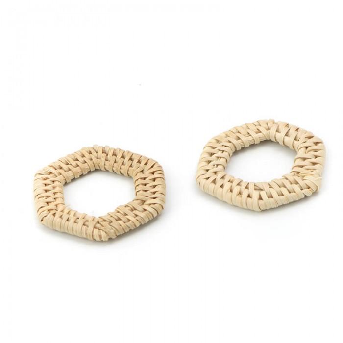 Rattan jewelery element, hexagon 4x3.8cm, 2 pcs
