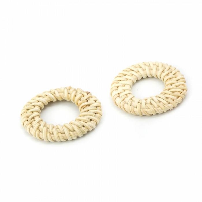Rattan jewelery element, circle 4.1cm, 2 pcs