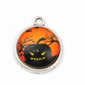 Metal and galss pendant Halloween, 28x23mm, 3 pcs