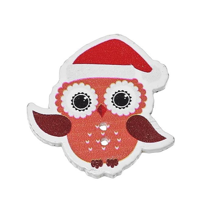 Buttons Owl Christmas 35x35mm, 5 pcs
