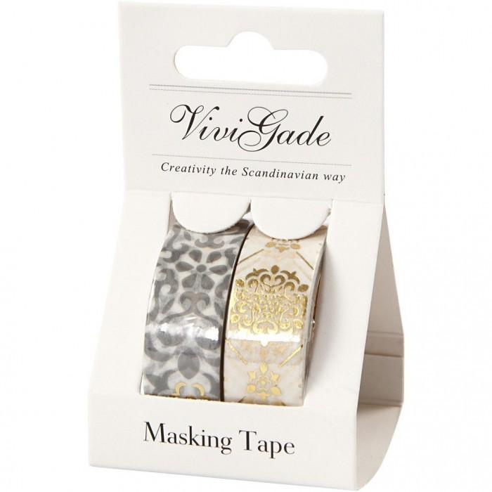 Vivi Gade - Washi Tape Ornaments, foil, 2x 15mm/4m
