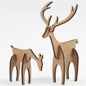 3D MDF Reindeers, H 5+12,5 cm, L 6,5+8 cm, 1 set