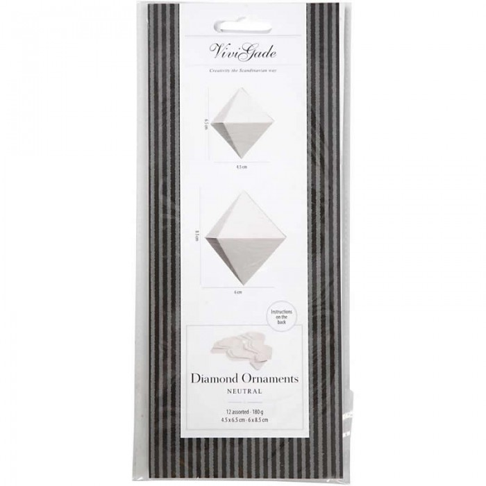 Paper Diamond Ornaments, white, basic, 12 pcs mixed