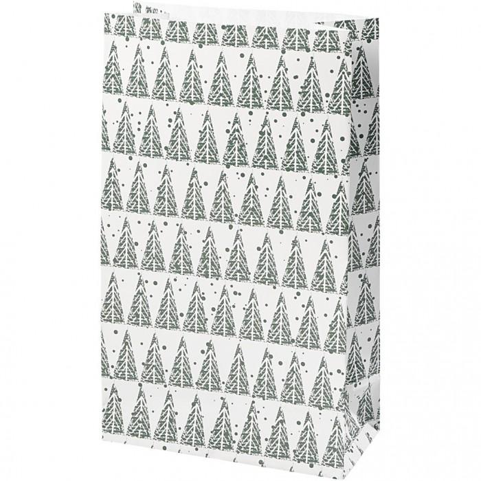 Paper bag, H: 21 cm, size 6x12 cm, pinetree, 8pcs