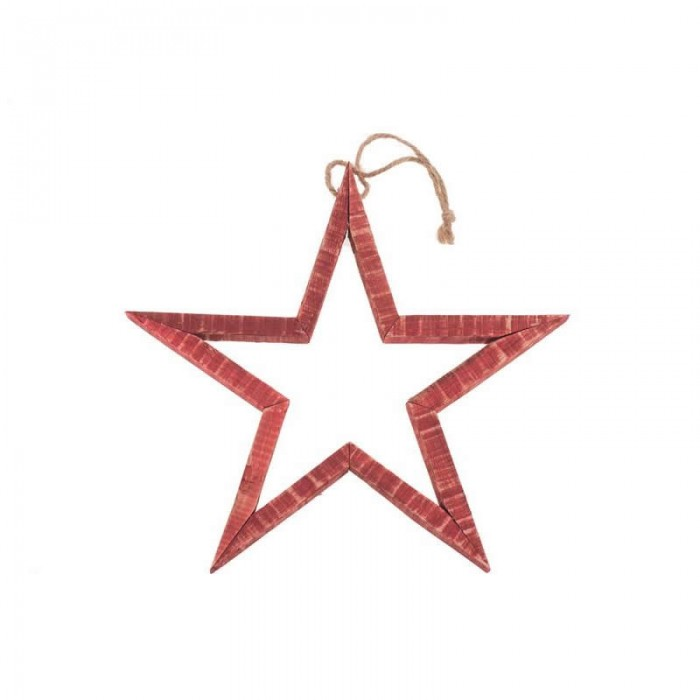 3D Wooden star, red, 29x29x2.5cm
