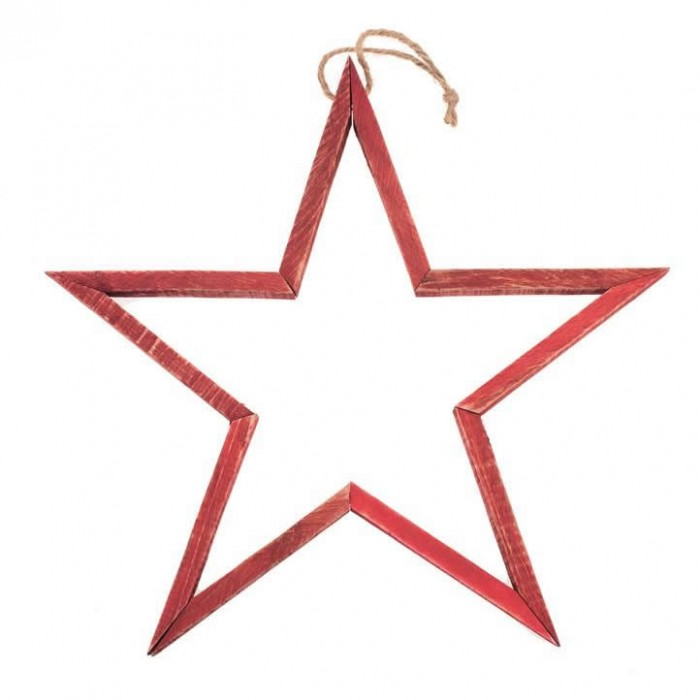 3D Wooden star, red, 39x39x2.5cm
