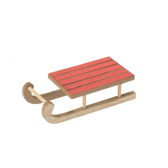 Wooden sled red, 12x5.5x3cm